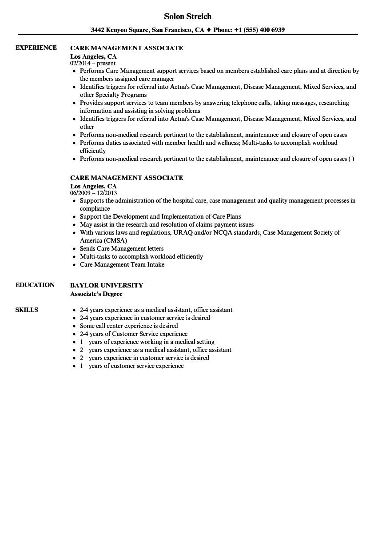 Care Management Associate Resume Samples | Velvet Jobs