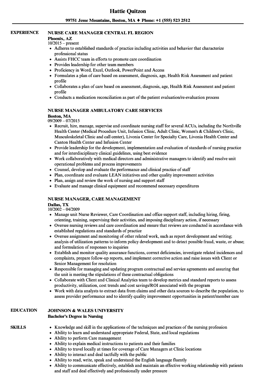 Care Manager Nurse Resume Samples | Velvet Jobs