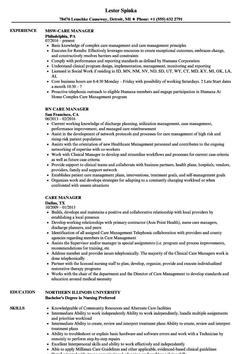 Care Manager Resume Samples | Velvet Jobs