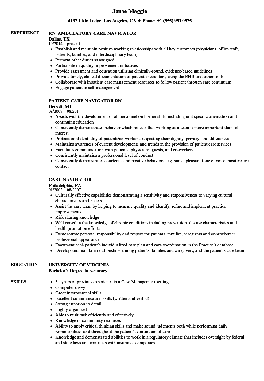 care navigator resume samples