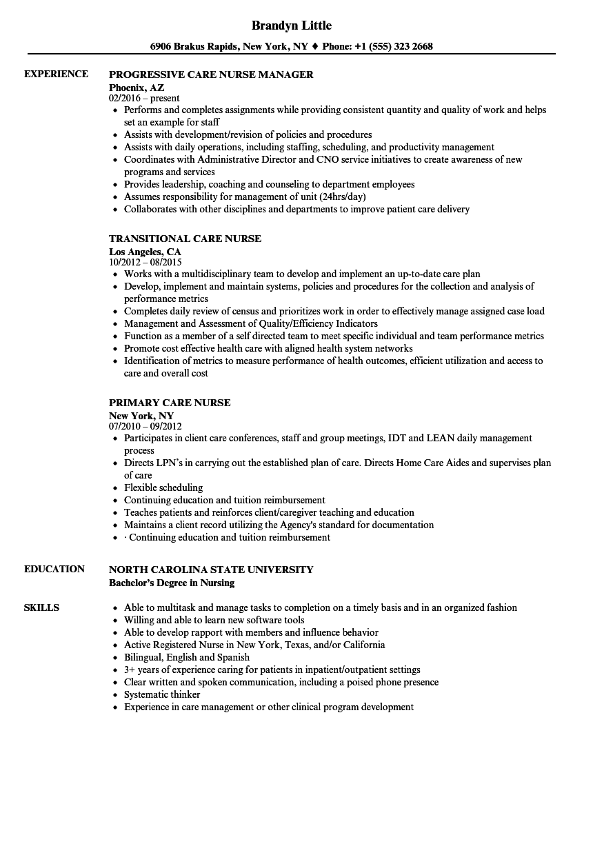Care Nurse Resume Samples Velvet Jobs