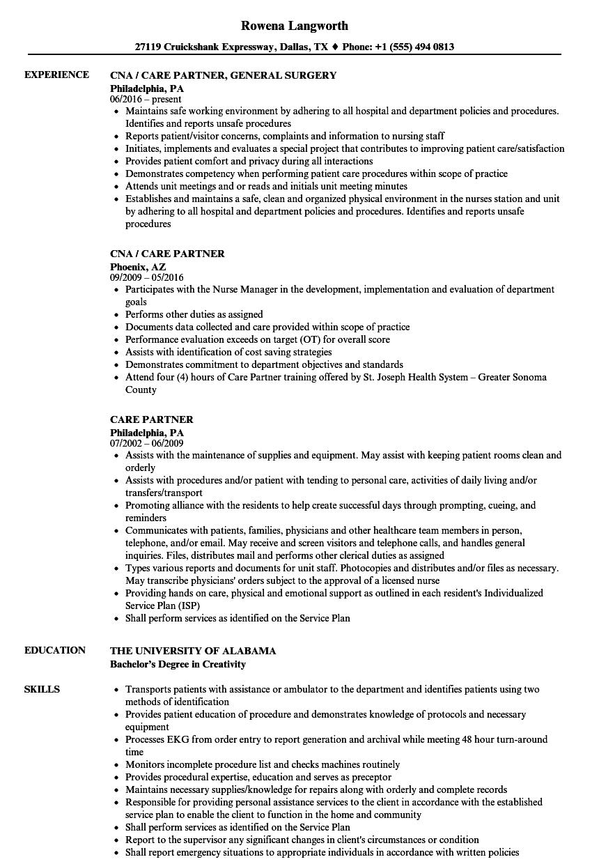 care partner resume samples