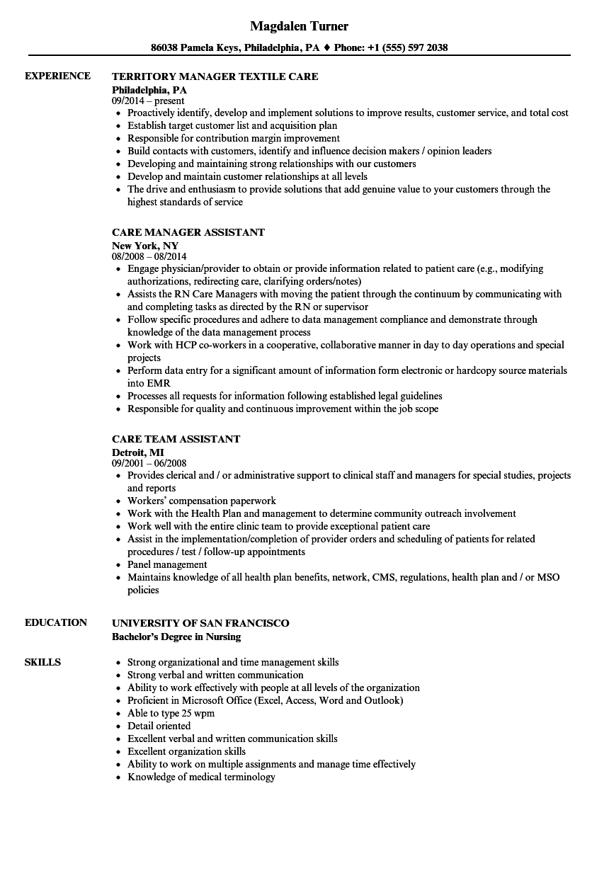 care resume samples