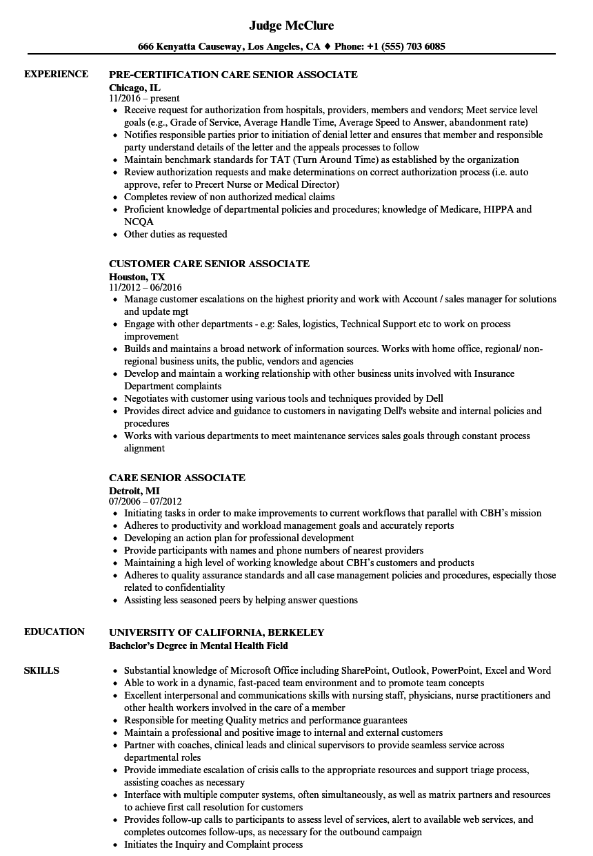 care senior associate resume samples