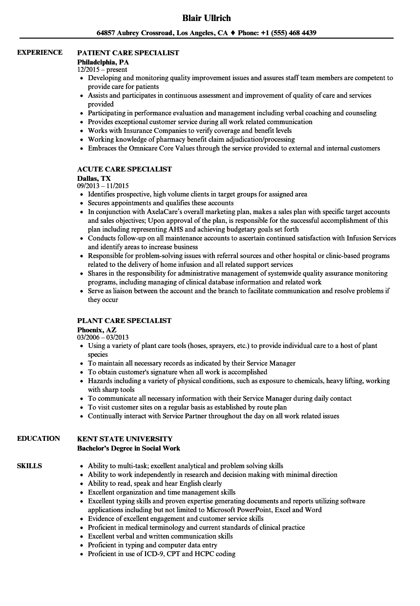 Care Specialist Resume Samples Velvet Jobs