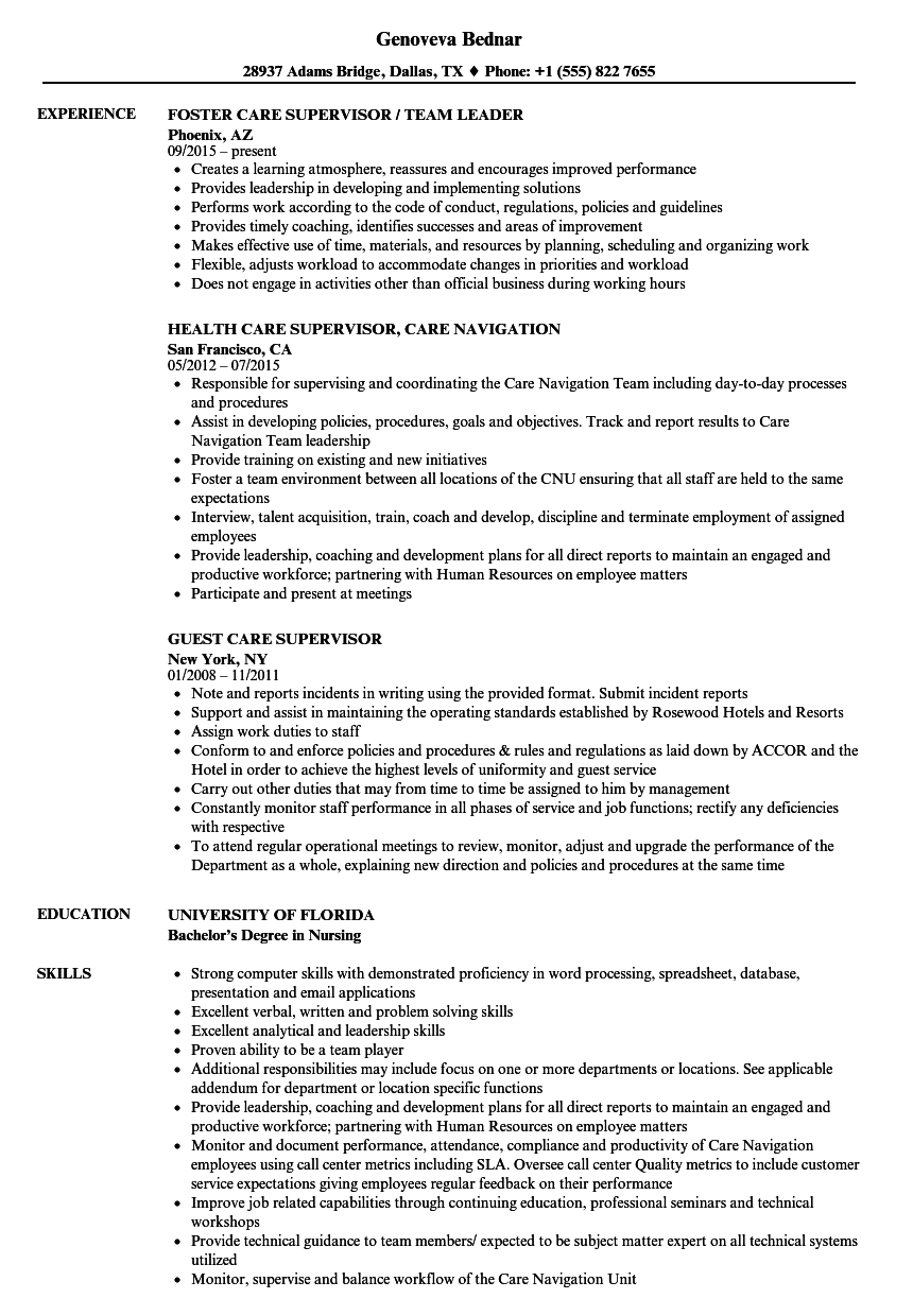 Care Supervisor Resume Samples Velvet Jobs