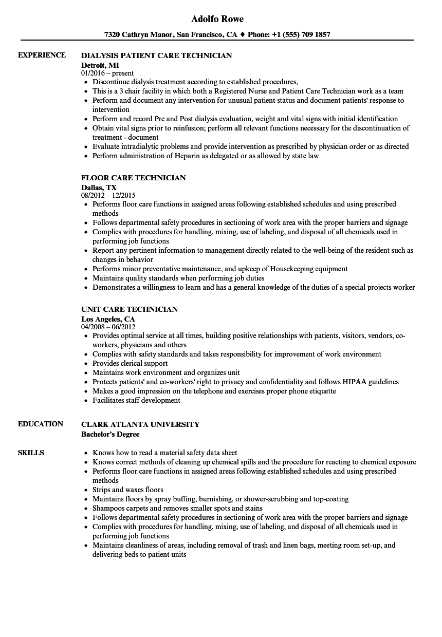 Care Technician Resume Samples | Velvet Jobs