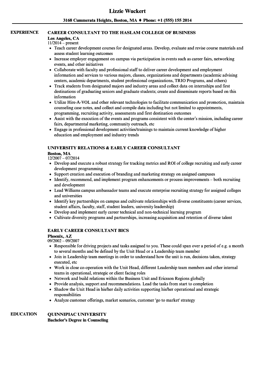 career consultant resume samples
