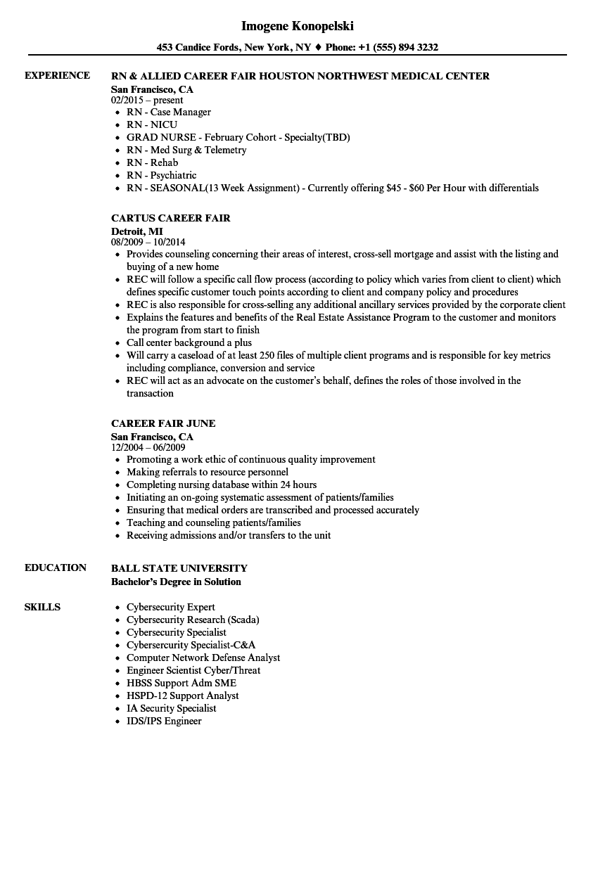 Download Career Fair Resume Sample As Image File