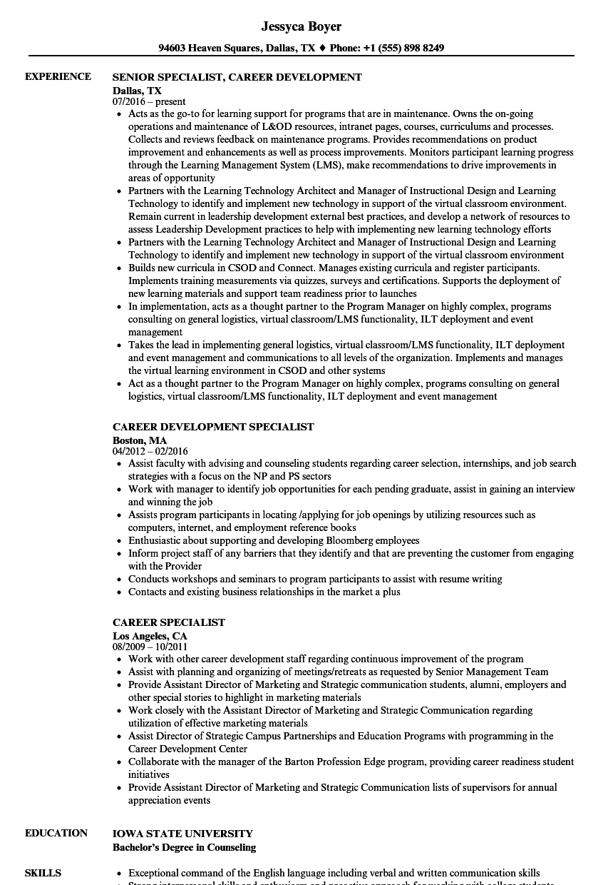 Career Specialist Resume Samples | Velvet Jobs