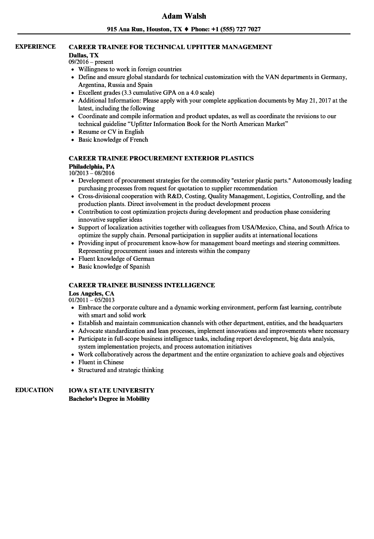 career trainee resume samples