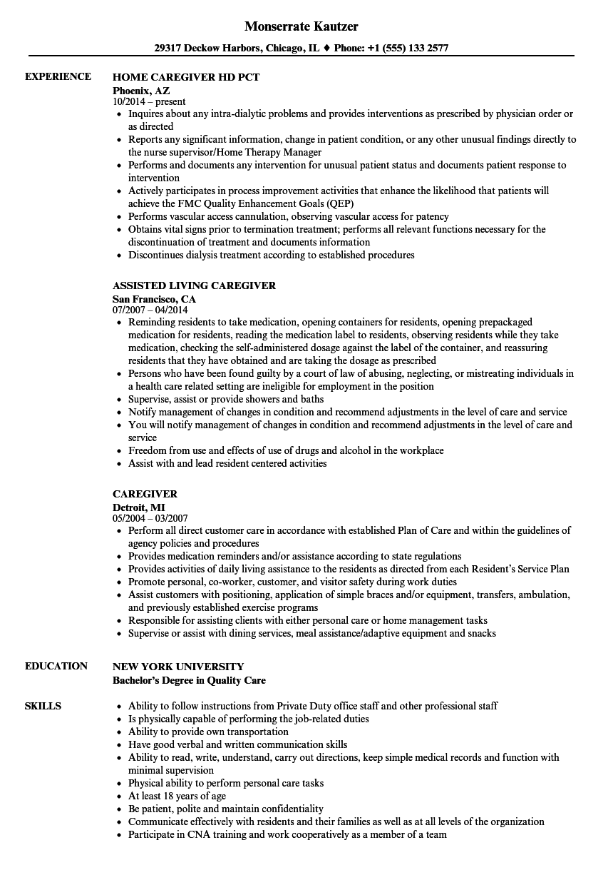Caregiver Resume Samples Velvet Jobs