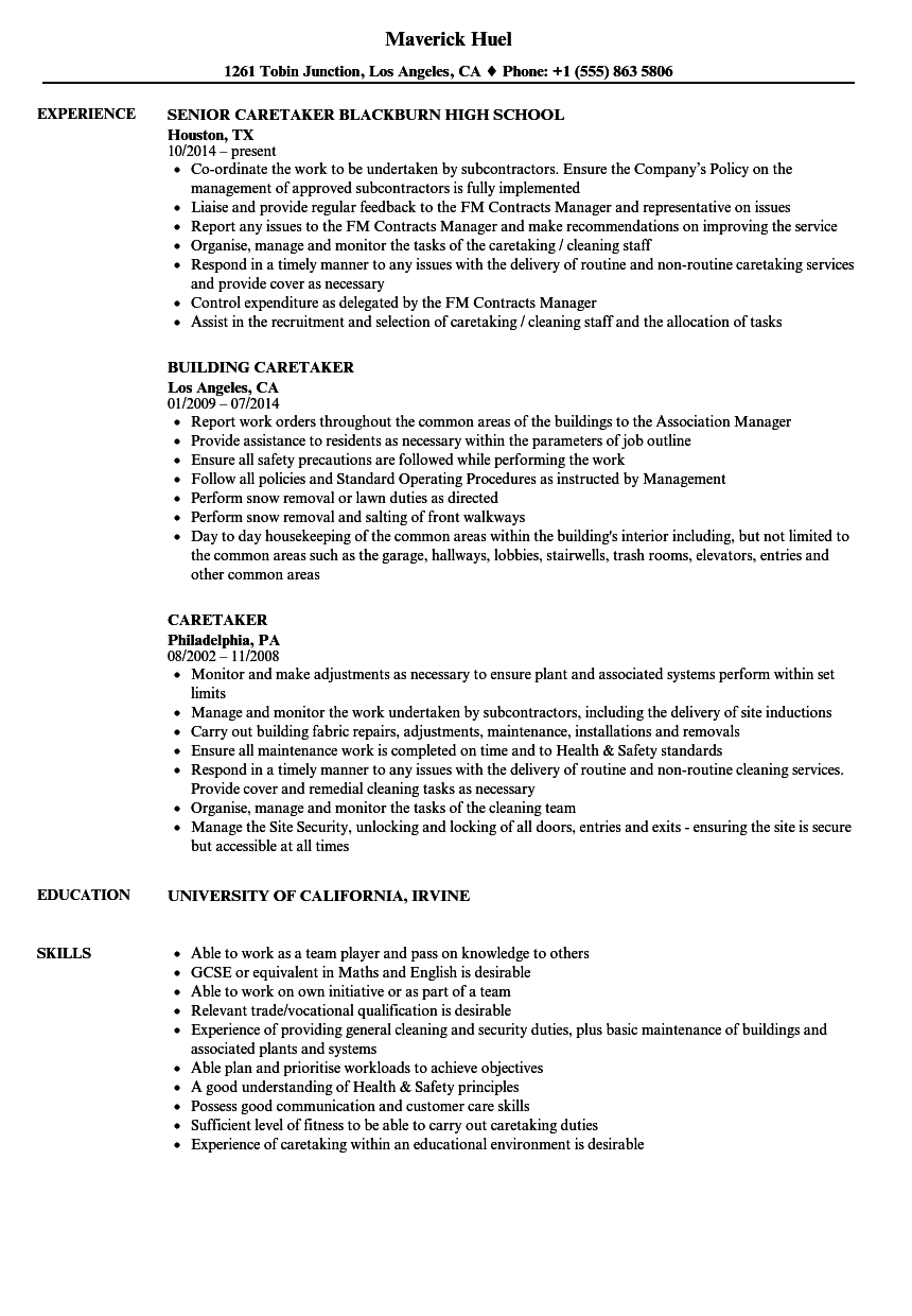 caretaker resume samples