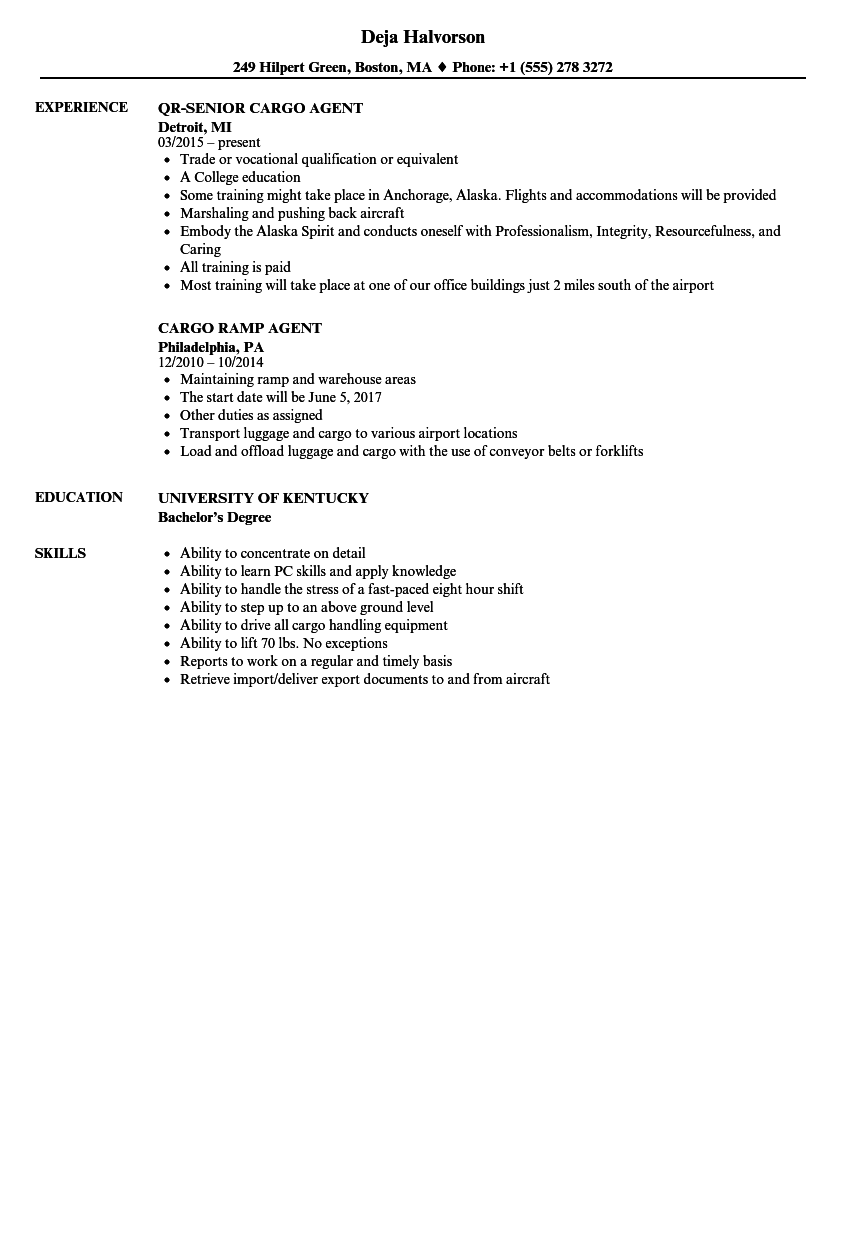 Cargo Agent Resume Samples Velvet Jobs