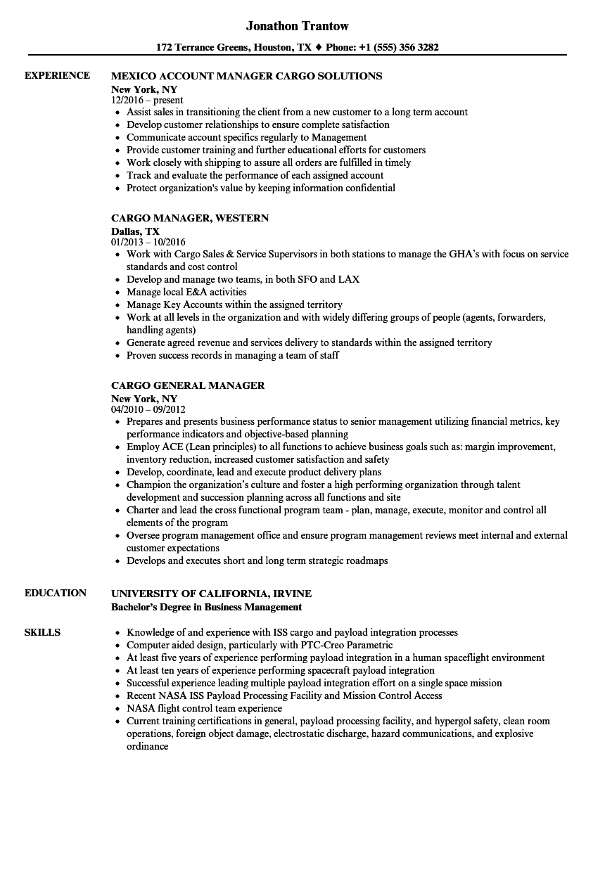 cargo manager resume samples