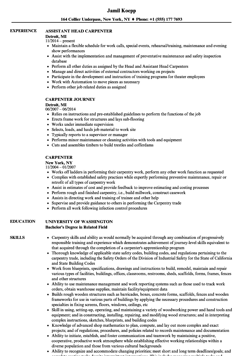 Carpenter Resume Samples Velvet Jobs