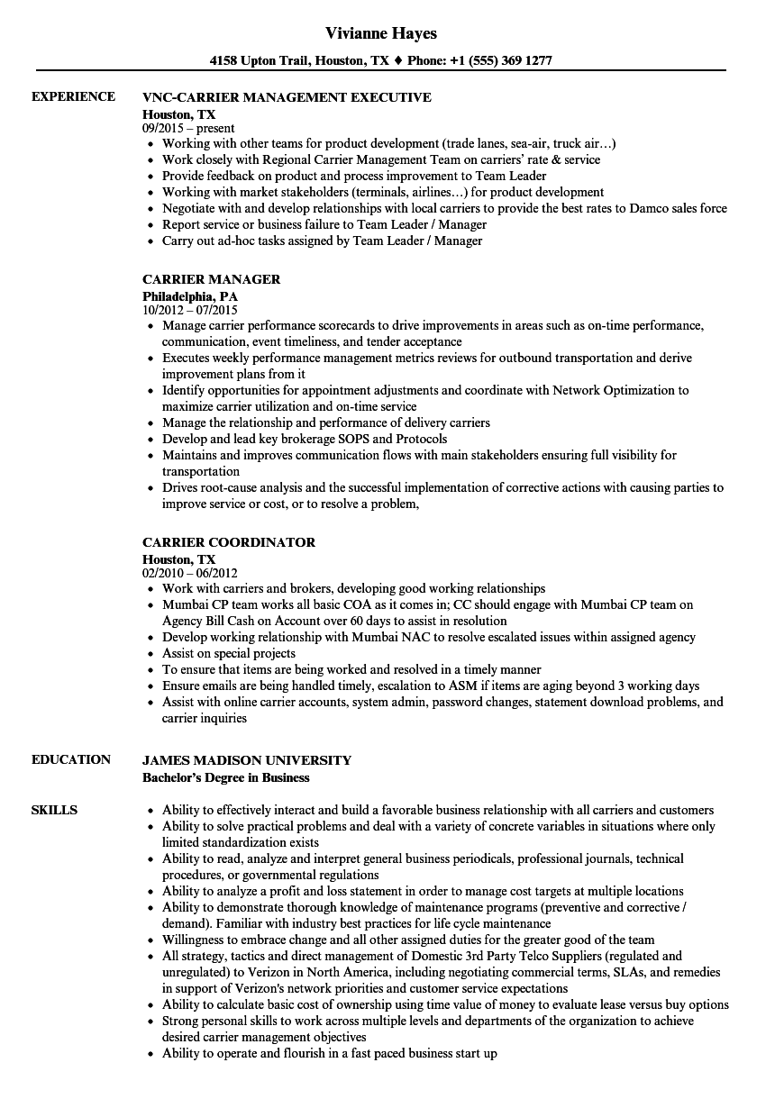 carrier resume samples