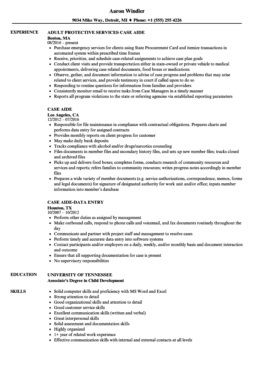 Case Aide Resume Samples Velvet Jobs