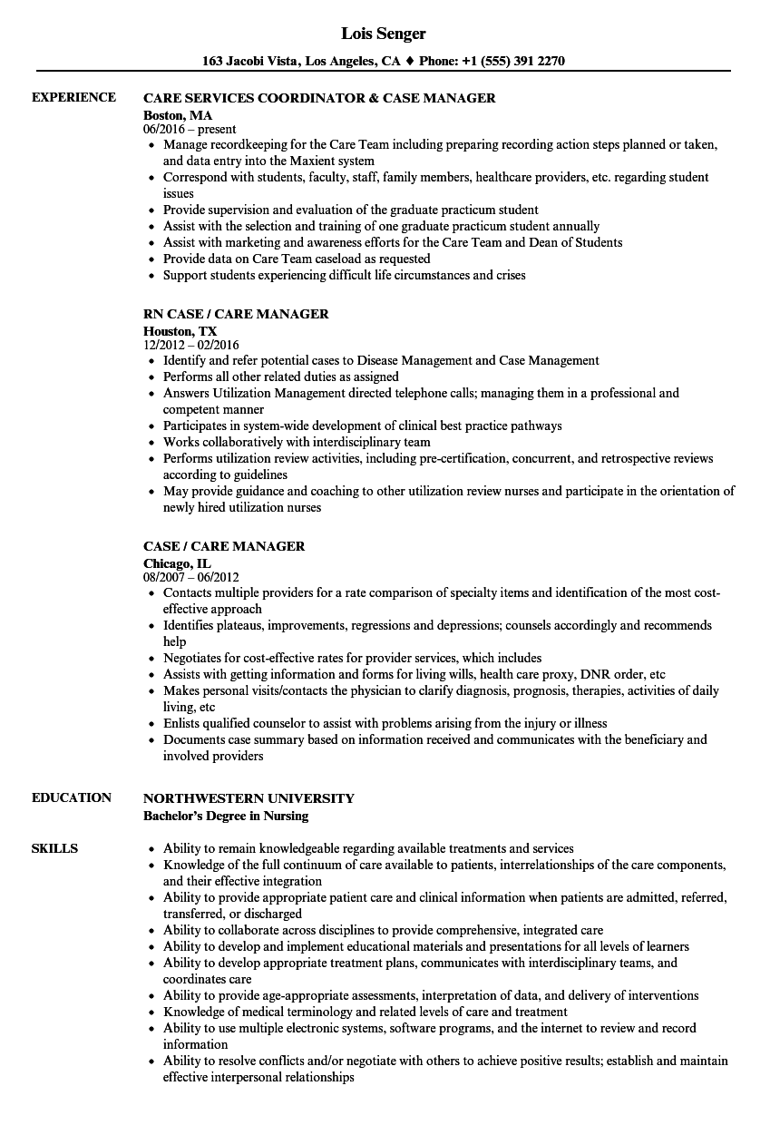 Case  Care Manager Resume Samples
