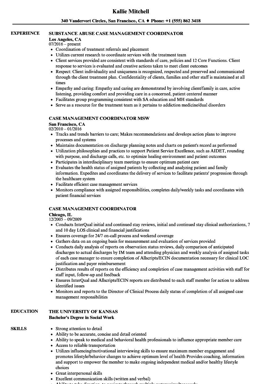 case management coordinator resume samples velvet jobs