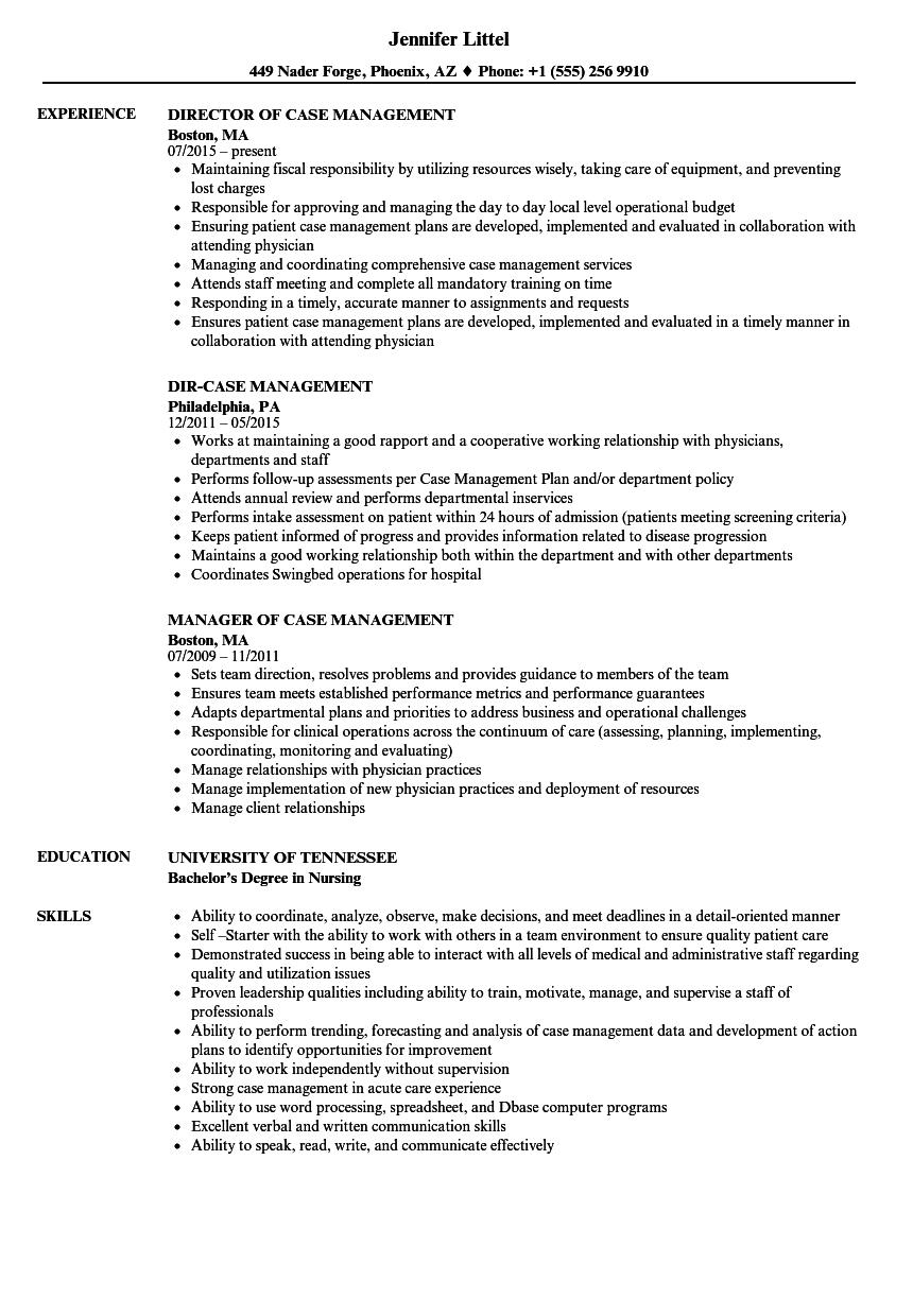 Download Case Management Resume Sample As Image File
