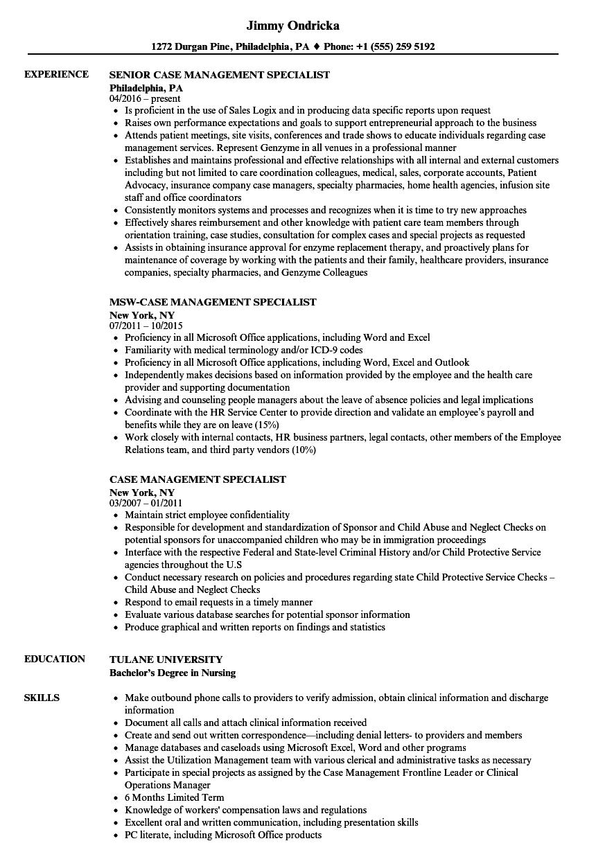 case management specialist resume samples