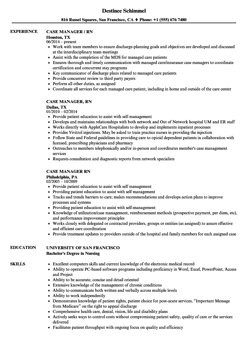 Case Manager Rn Resume Samples | Velvet Jobs