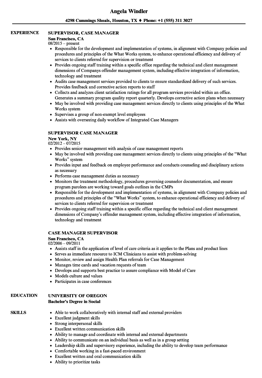 case manager supervisor resume samples velvet jobs