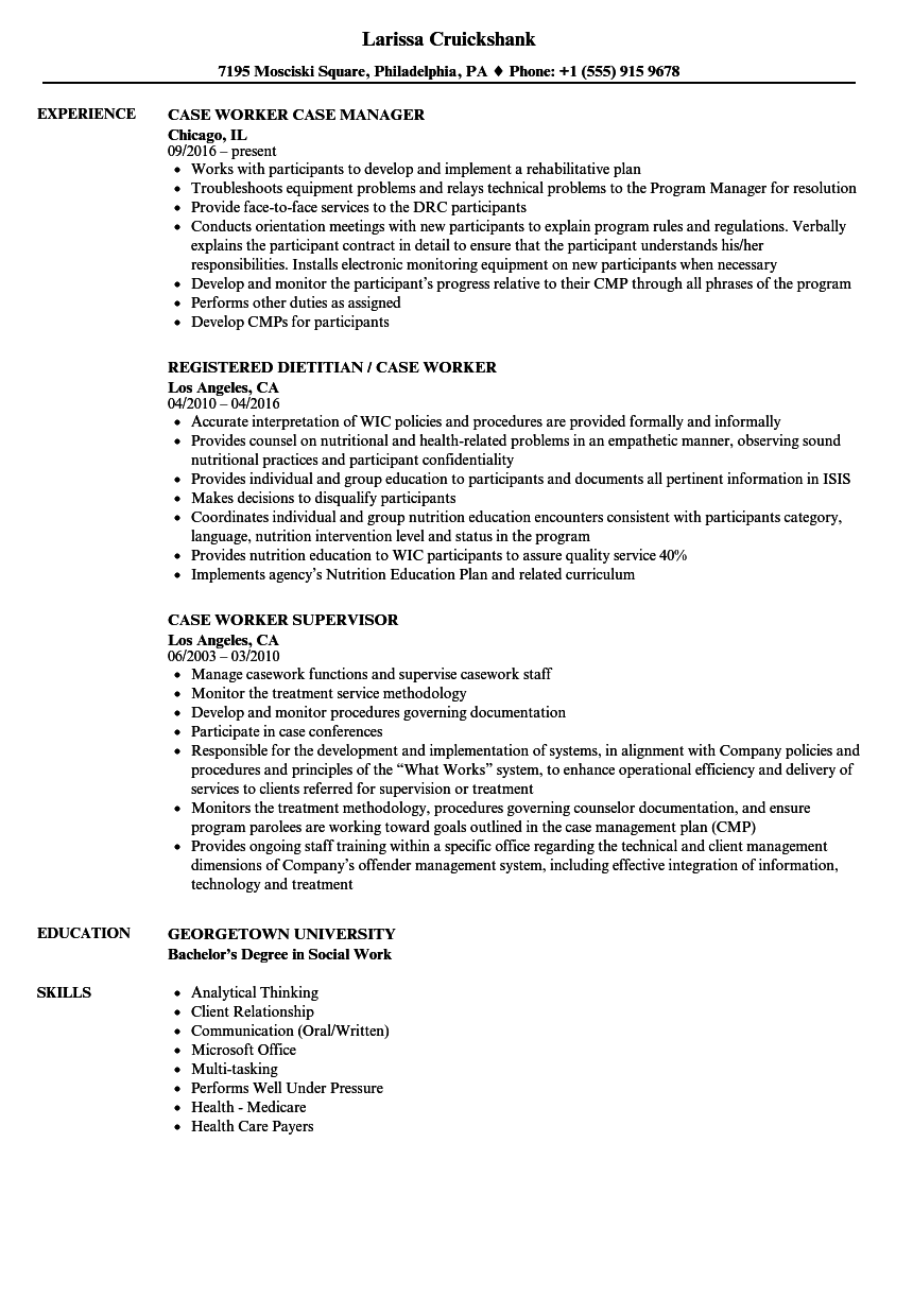 Case Worker Resume Samples | Velvet Jobs