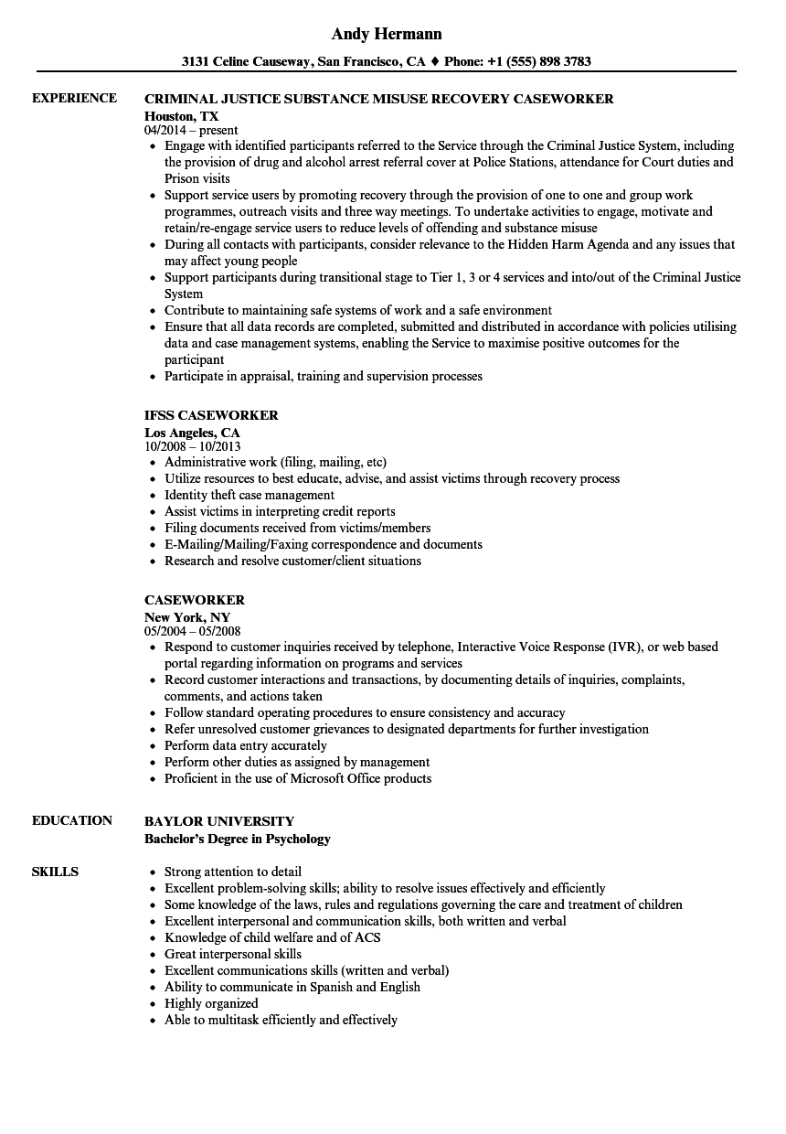 caseworker resume samples