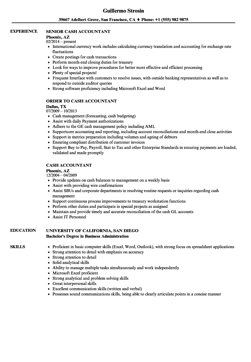 Cash Accountant Resume Samples | Velvet Jobs
