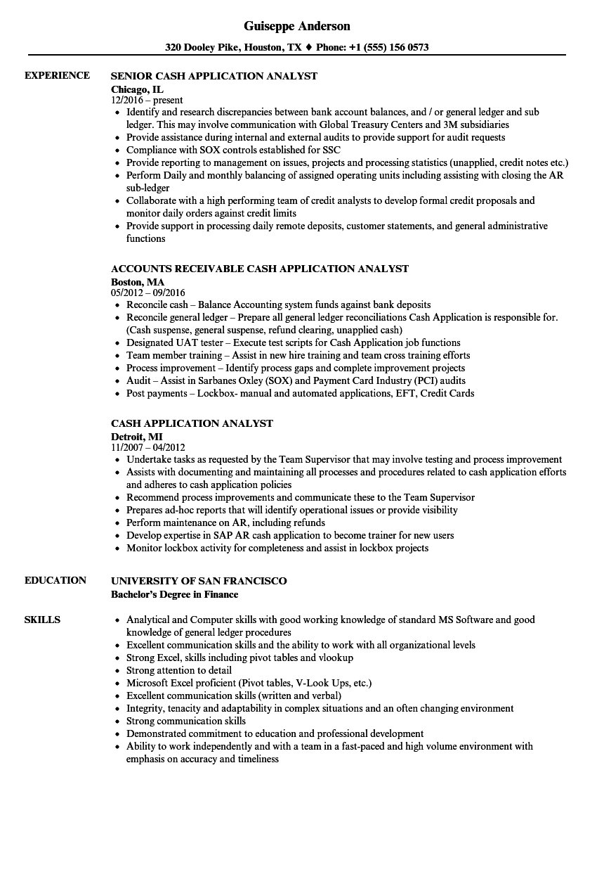 Cash Application Analyst Resume Samples Velvet Jobs
