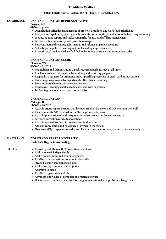 cash application resume samples