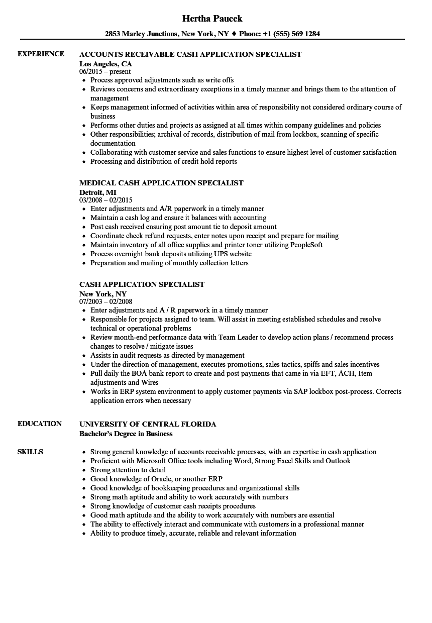 Cash Application Specialist Resume Samples | Velvet Jobs