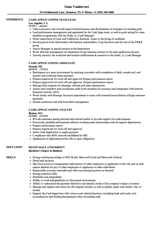 cash applications resume samples