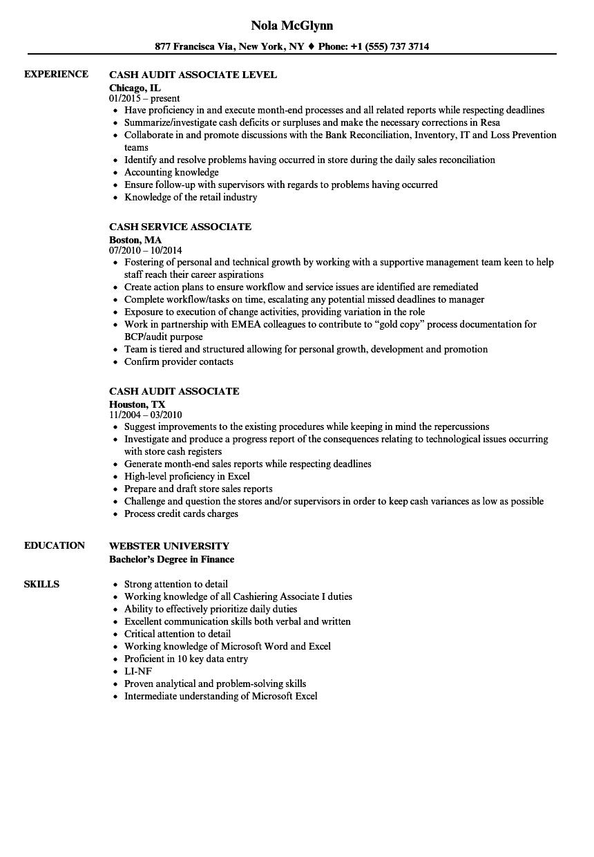Download Cash Associate Resume Sample As Image File