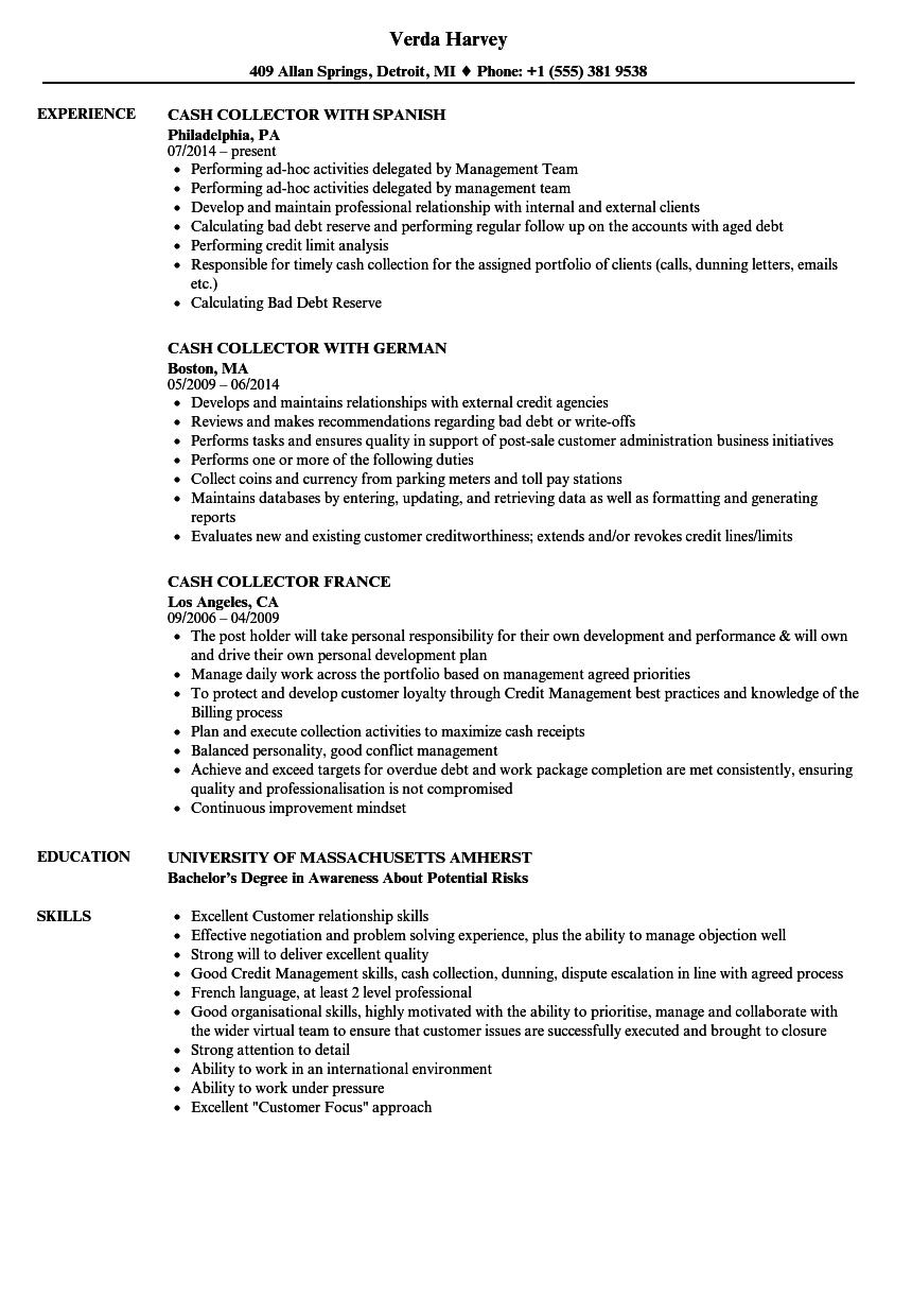 Cash Collector Resume Samples