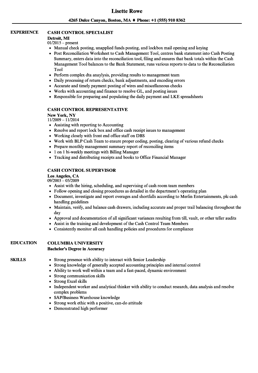Download Cash Control Resume Sample As Image File
