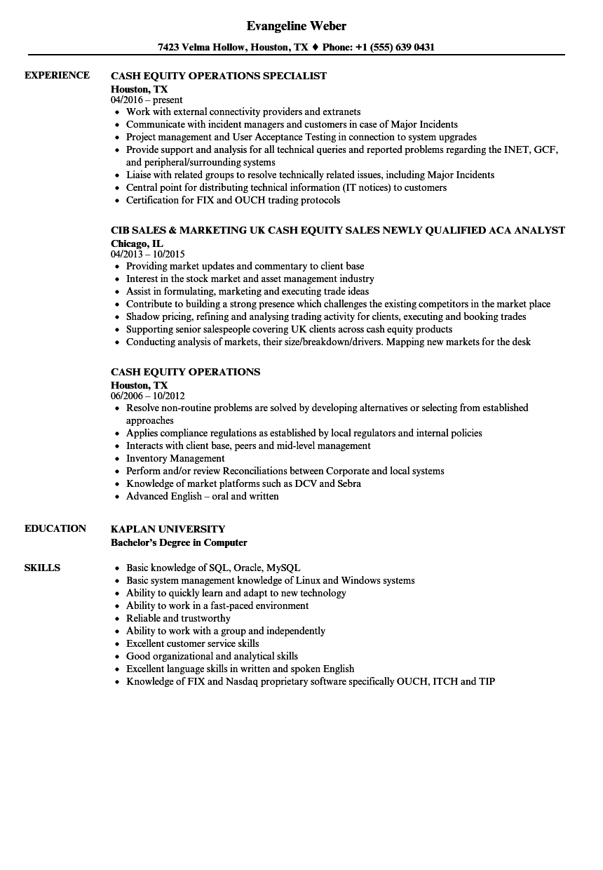 cash equity resume samples