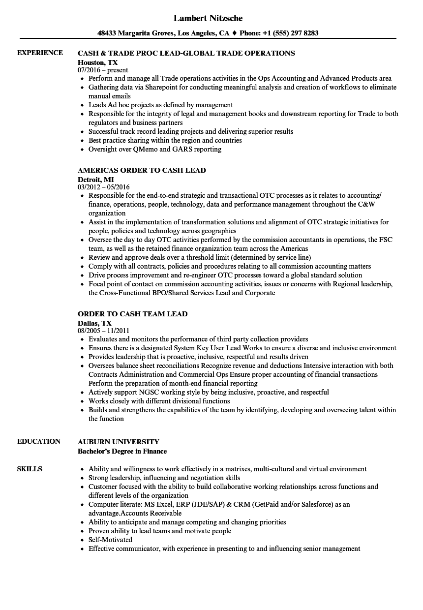 Cash Lead Resume Samples | Velvet Jobs