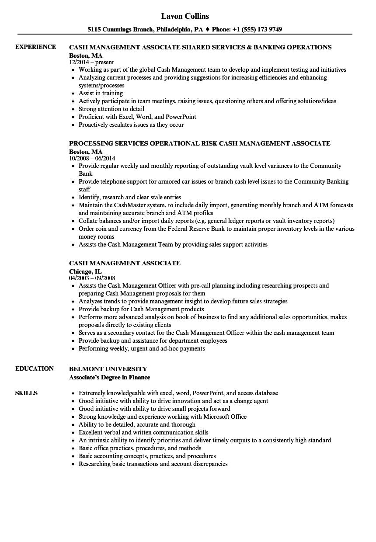 Cash Management Associate Resume Samples | Velvet Jobs