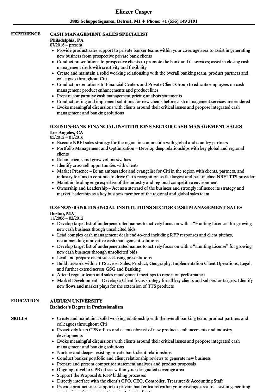 Cash Management Sales Resume Samples | Velvet Jobs