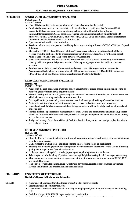 Cash Management Specialist Resume Samples Velvet Jobs