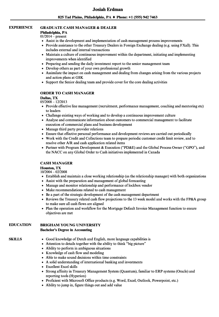 Cash Manager Resume Samples | Velvet Jobs