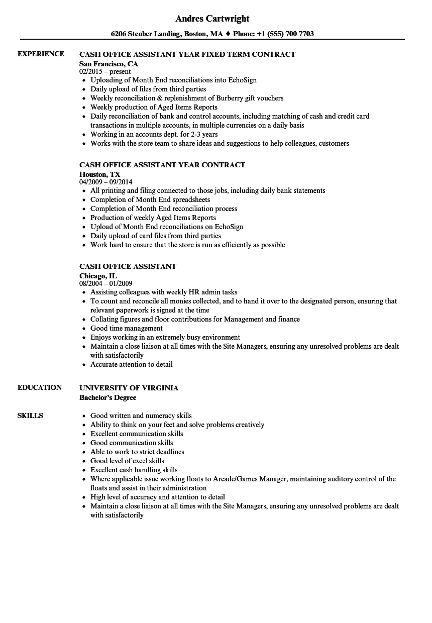 cash office assistant resume samples