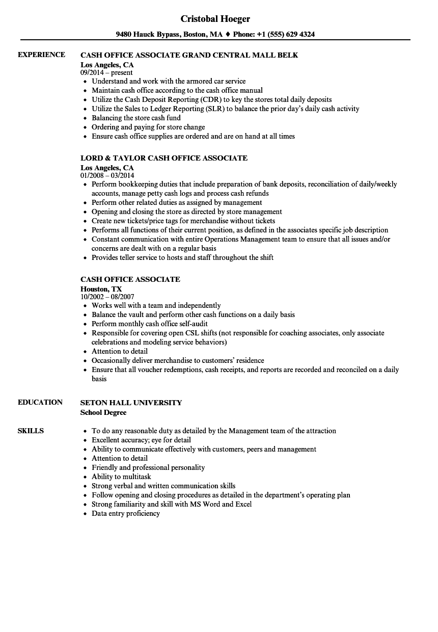 cash office associate resume samples