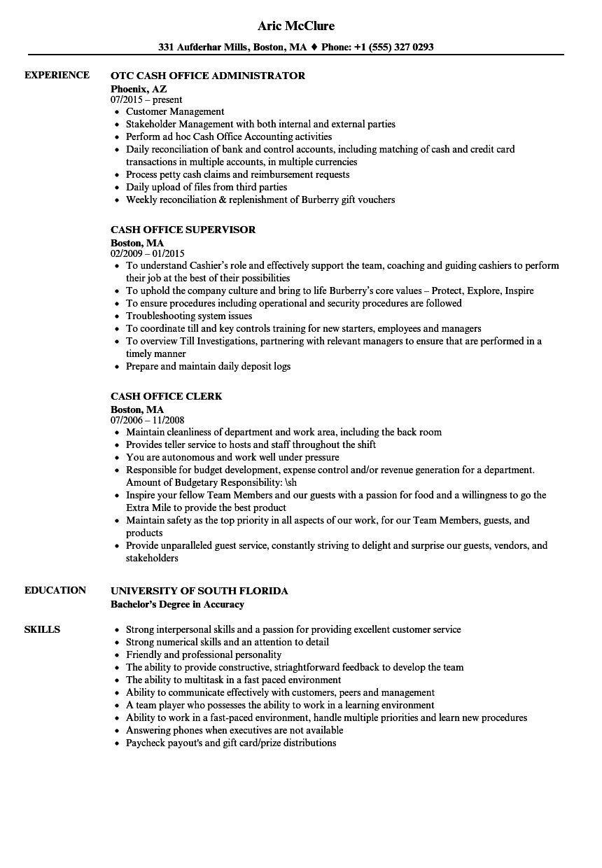 Download Cash Office Resume Sample As Image File  Office Job Resume