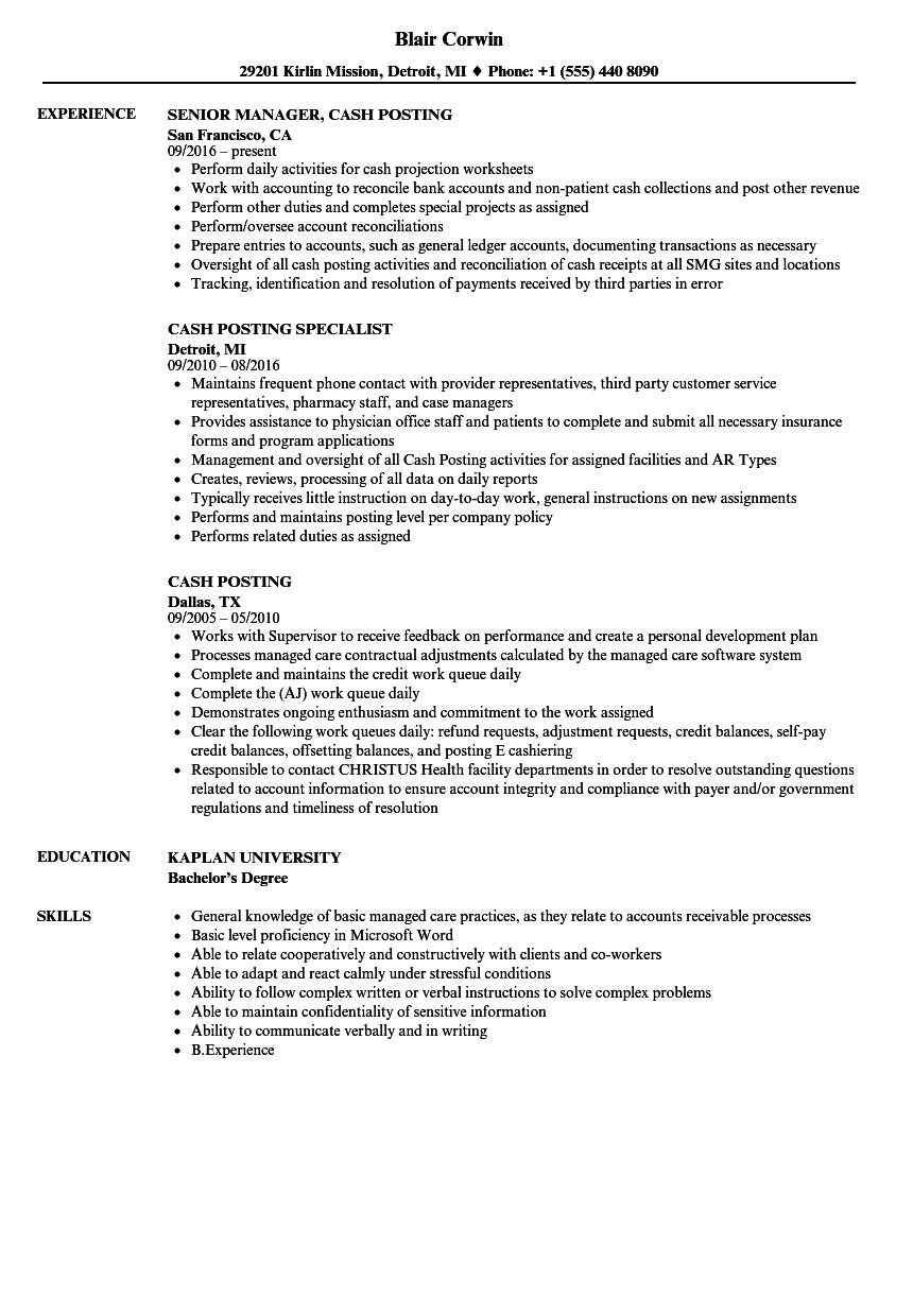 Cash Posting Resume Samples | Velvet Jobs