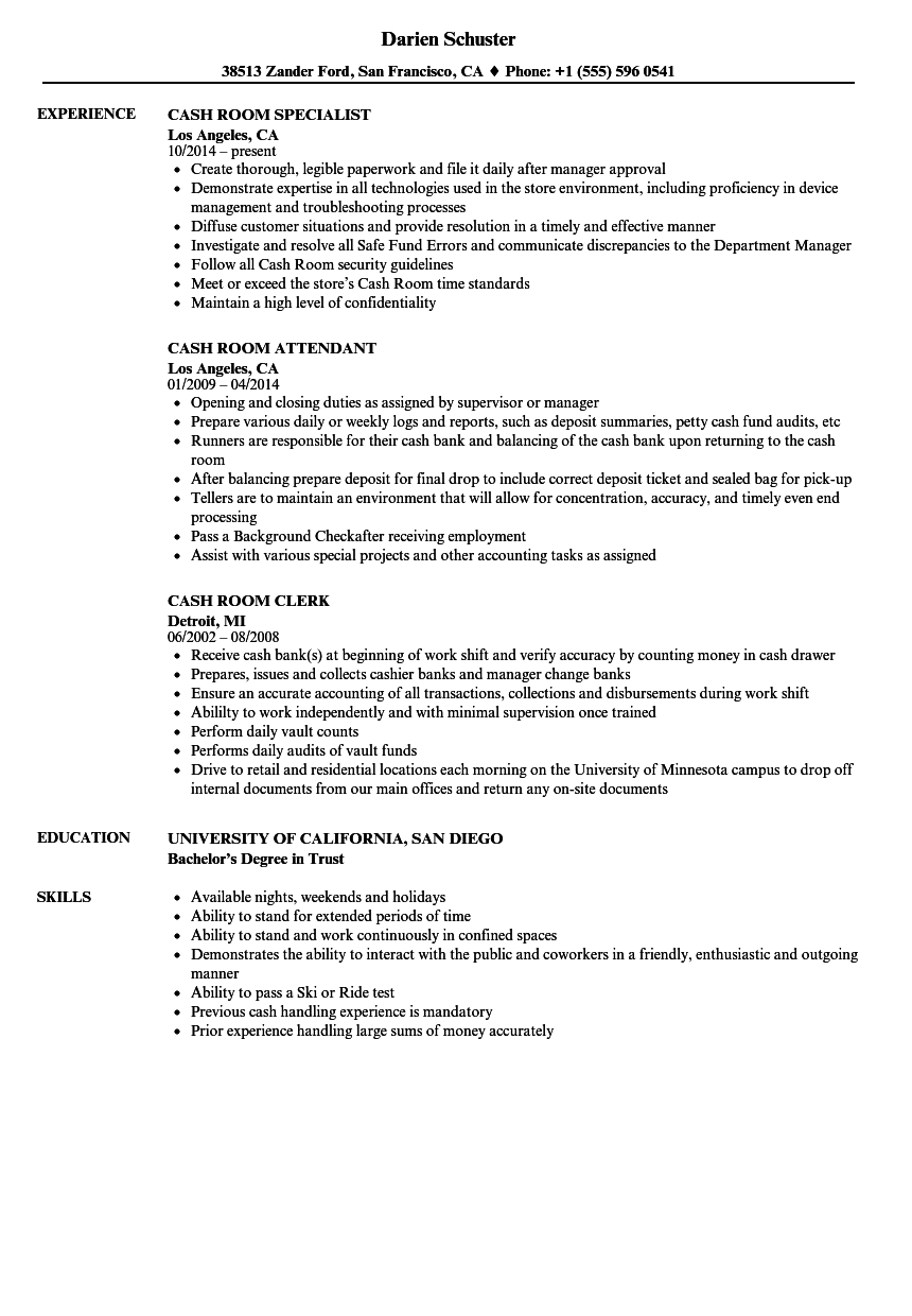 Cash Room Resume Samples | Velvet Jobs