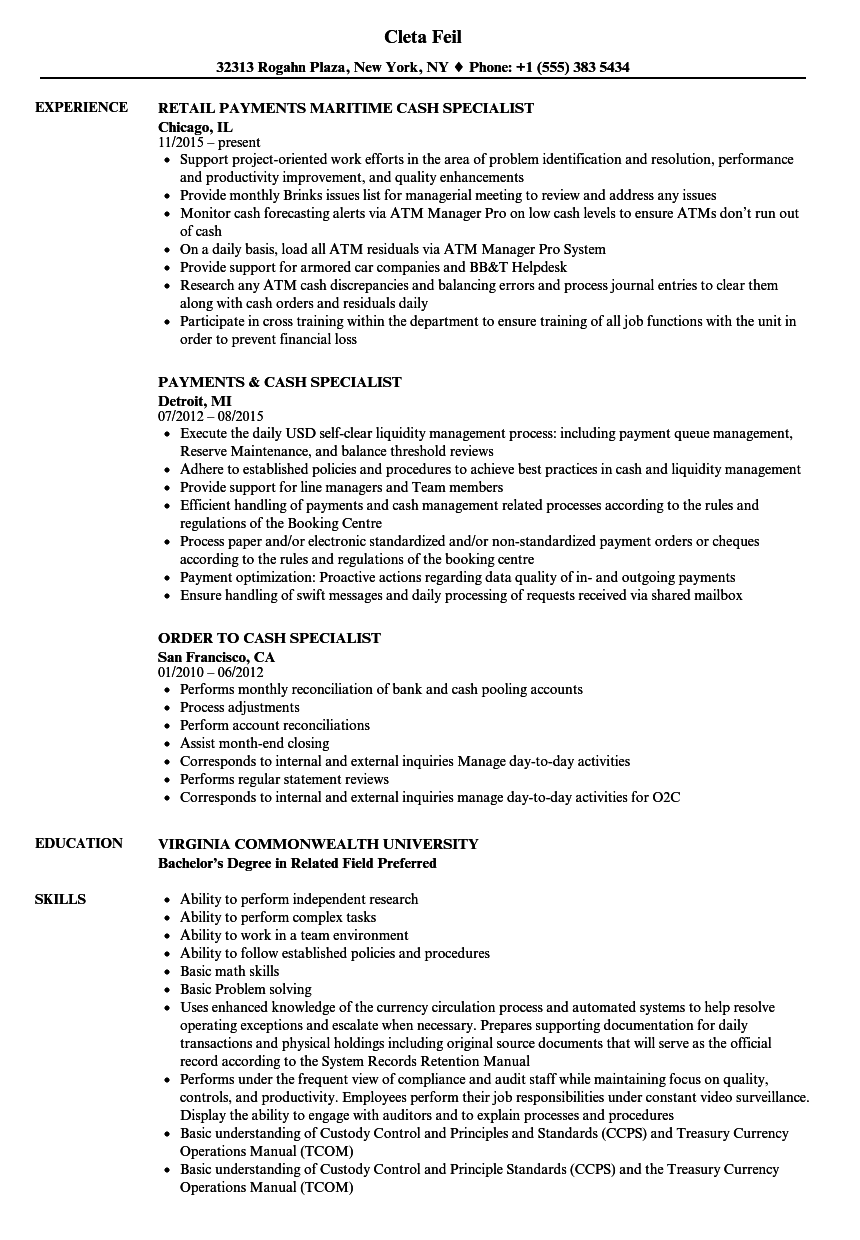 Cash Specialist Resume Samples
